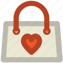 gift offer, heart sign, shopping bag, special offer, store bag, valentine day, valentine gift icon