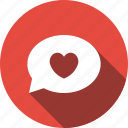 bubble, chat, communication, heart, love, speech, talk icon