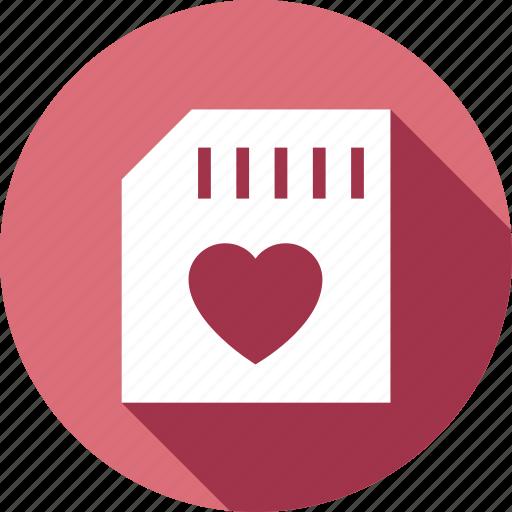 chip, heart, love, memory, romantic icon