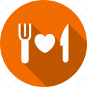 dining, fork, heart, love, plate, sign, wedding icon