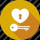 heart, key, lock, love, valentine, wedding icon
