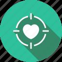 heart, love, romance, target, valentine icon