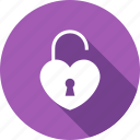 heart, key, lock, love, loving, security icon