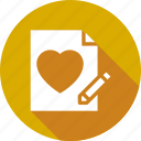 heart, letter, love, valentine, wedding, write icon