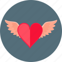 angel, heart, love, red, romance, romantic, wings icon