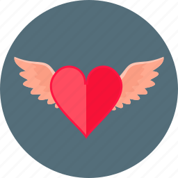 angel, heart, love, red, romance, romantic, wings icon