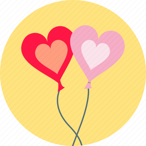 balloons, decoration, hearts, love, romance, valentine, valentine's icon