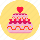 cake, celebration, dessert, hearts, love, sweet, valentines day icon