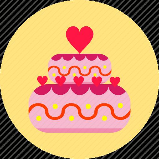 cake, celebration, dessert, hearts, love, sweet, valentines day icon