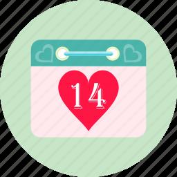 calendar, calender, date, heart, love, romance, valentines day icon