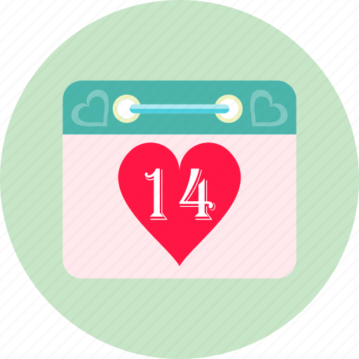 calendar, calender, date, heart, love, romance, valentines day icon