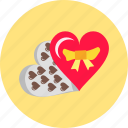 chocolates of love, gift, heart, love, romantic, sweet, valentine icon