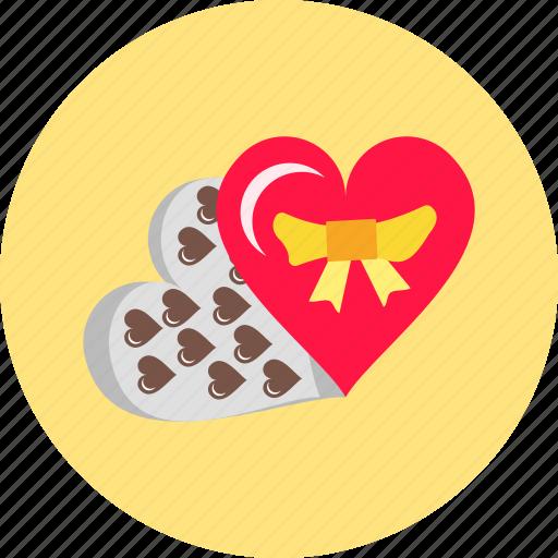chocolates of love, gift, heart, love, romantic, sweet, valentine icon