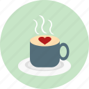 coffee, cup, drink, heart, love, romance, warm icon
