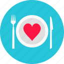 dinner, heart, love, plate, romantic dinner, valentine's day icon