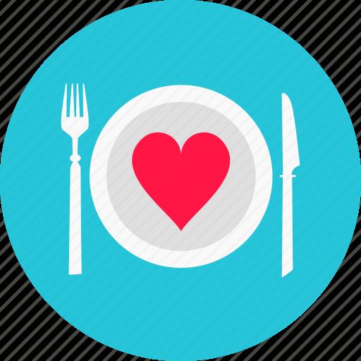 dinner, heart, love, plate, romantic dinner, valentine's day icon