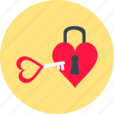 day, heart, key, locking, love, romantic, valentine icon