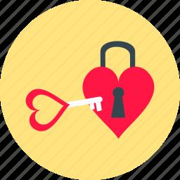 day, heart, key, locking, love, romantic, valentine icon
