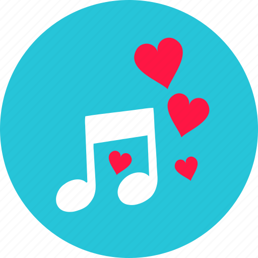 audio, heart, love, music, note, romantic, sound icon