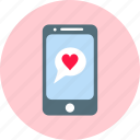 chat, communication, heart, love, message, sms icon