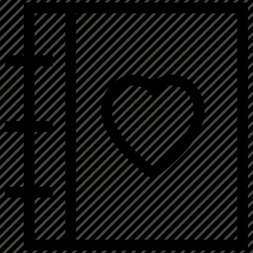 diary, diary of love, heart on diary, love, love diary icon