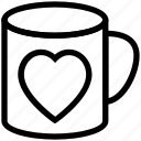 heart mug, heart on mug, love symbol, mug, mug with heart, tea mug, valentine mug icon