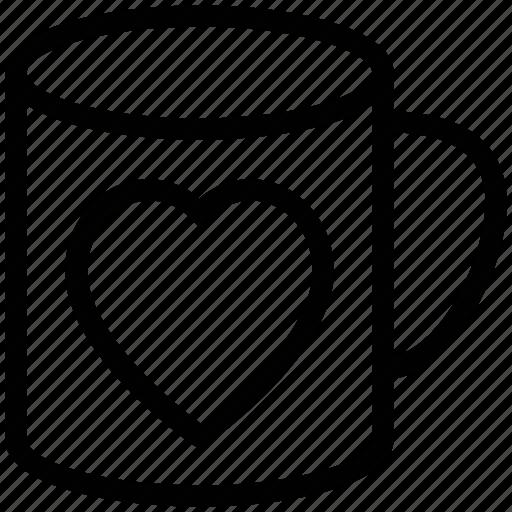 heart mug, heart on mug, love symbol, mug, mug with heart, tea mug, valentine mug icon