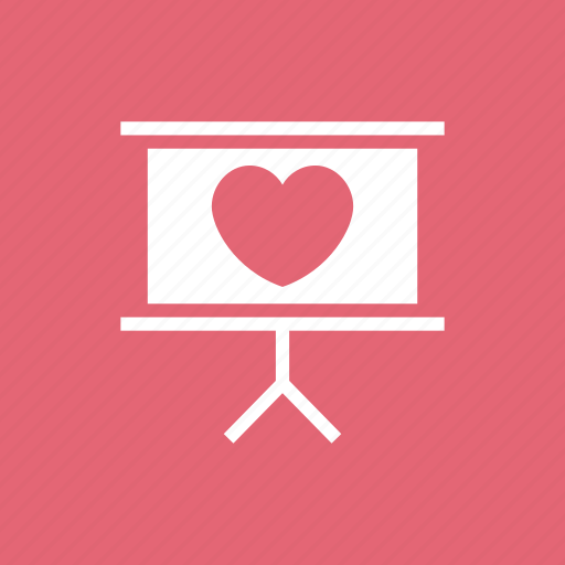board, easel, heart, romance, with icon