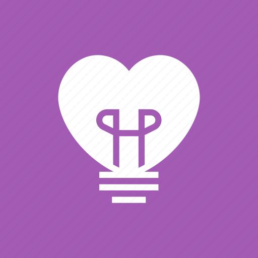bulb, heart, lamp, light, lightbulb icon