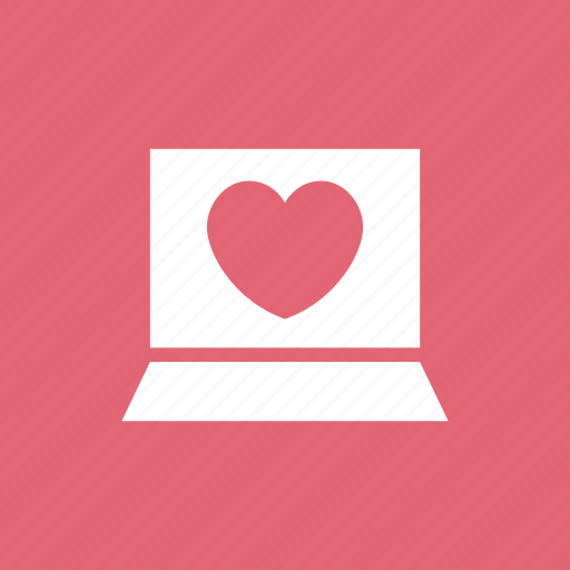 computer, favourite, heart, laptop, like, love icon