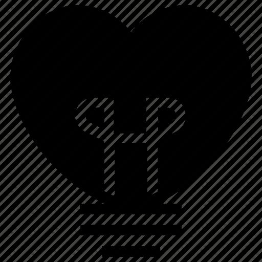 bulb, heart, lamp, light, light bulb, lightbulb, love icon icon