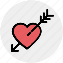 arrow, cupid, falling in love, heart, love, romantic, valentine icon