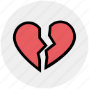 breakup, broken heart, dating, heart, hurt, love, relationship icon