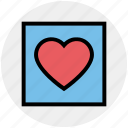 favorite, frame, heart, love, romantic, valentine, valentines icon