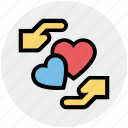 couple, hand, heart, heart care, love, romance, valentine icon