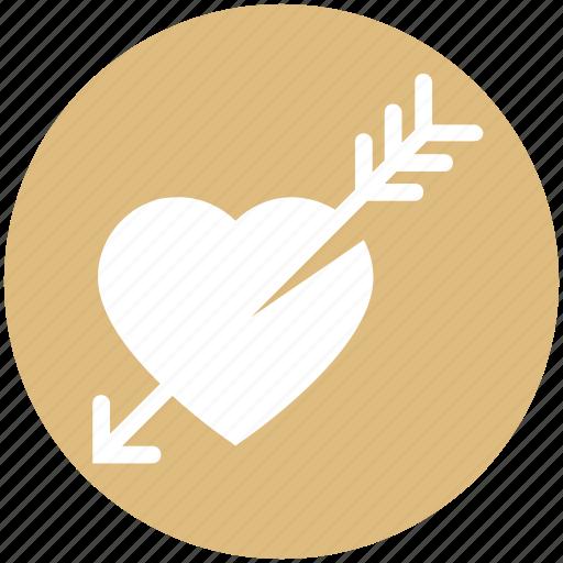 arrow, cupid, falling in love, heart, love, romantic, valentine icon