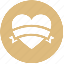 heart, heart badge, love, love badge, ribbon, romantic, valentine's day icon