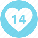 14 february, 14 years relation, date, day, heart, love, valentine day icon