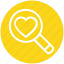 find, heart, love, magnifier, search, searching love, valentines icon