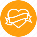 heart, heart badge, love, love badge, ribbon, romantic, valentine's day icon