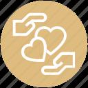 couple, hand, heart, heart care, love, romance, valentine icon