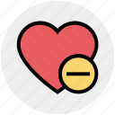 favorite, heart, love, minus, romantic, valentine, valentines icon