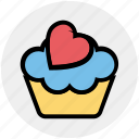 pink, heart, cup, sweet, cupcake, dessert, cake