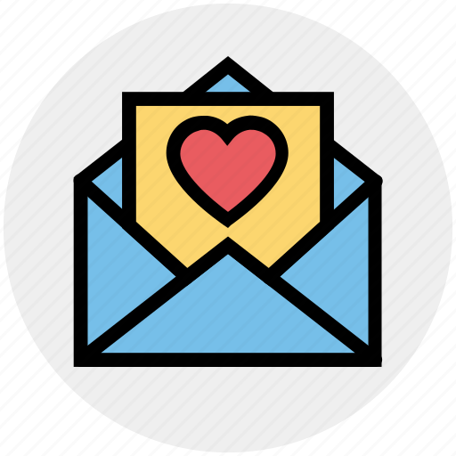 envelope, heart, invitation, invite, message, open, wedding icon