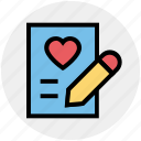 document, heart, list, love, paper, pencil, writing
