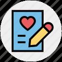 heart, love, pencil, list, writing, paper, document