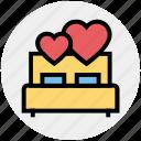 bed, bedroom, heart, honeymoon, love, romance, valentine icon