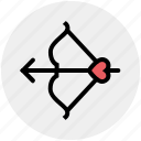 arrow, bow, cupid bow, heart, love, romantic, valentine icon