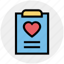 clipboard, document, favorite, heart, list, love, paper icon