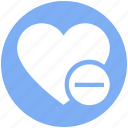 favorite, heart, love, minus, romantic, valentine, valentines icon